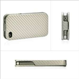 ZuGadgets Silver Hard Leather Flip Case for Apple iPhone 4
