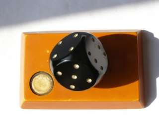 Antique Art deco black amber bakelite dice 180g heavy