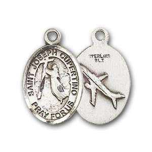 Badge Medal with St. Joseph of Cupertino Charm and Godchild Pin Brooch