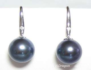5mm Genuine Black Pearl 14K White Gold Diamond Earrings