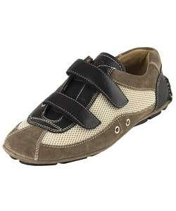 Prada Men Black Leather Double Strap Sneakers