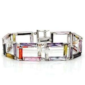 MultiColor Cubic Zirconia Brass Rhodium Squares Bracelet AM Jewelry