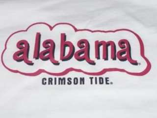 Girl University Alabama Crimson Tide White T  Shirt NWT