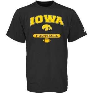 Russell Iowa Hawkeyes Black Football T shirt Sports
