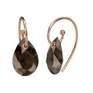 Monsoon Earrings, Pear Smoky Quartz 14K Rose Gold Earrings