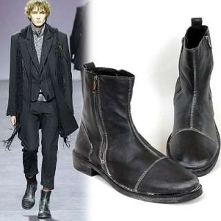 Runway White Dusty Vintage FullSkin Leather Ankle Boots