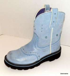 ARIAT Baby Blue Suede FAT BABY BOOTS with Bling! Sz 8 M, Fatbaby