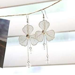 Fashion Elegance Pretty Clear Rhinestone Clover Dangle Earrings Free