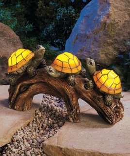 Solar Power Mosaic Turtle Log Statue Light Garden and Yard Decor Path