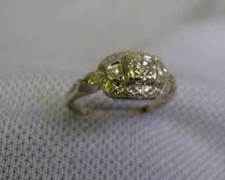 KT White Gold Ladys Filigree Diamond Ring size 5.5 circa 1940 50s