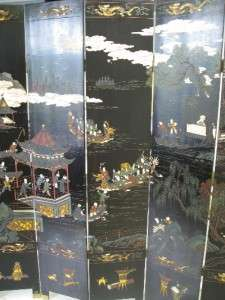 Antique Asian / Oriental Art Double Sided Room divider Folding Screen