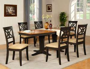 9PC DINING ROOM SET TABLE WITH 8 UPHOLSTERED CHAIRS IN BLACK & SADDLE