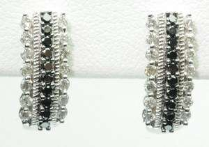 14K WHITE GOLD DIAMOND BLACK ONYX CLUSTER ESTATE EARRINGS J203008