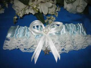 Beach Theme WEDDING BRIDAL LACE STARFISH GARTER BLUE
