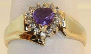 gold ladies diamond amethyst heart ring womens vintage estate antique