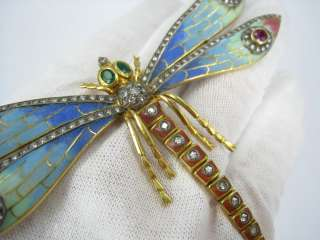 Multi Color Enamel Diamond Emerald Ruby Dragonfly 18K Brooch