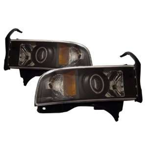 94 01 Dodge Ram Black CCFL Halo Projector Headlights /w