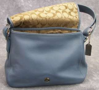 Vintage COACH Light Blue Leather Legacy Flap Handbag Purse