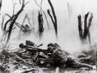 Inf. Firing 37mm Machine Gun at German Positions, Argonne Forest, WWI
