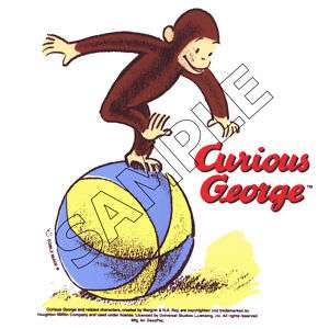 Curious George On Ball Edible Cake Topper Decor Image