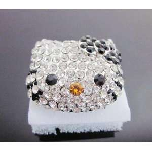 HUGE Crystal BLING ring w/Black bow w/Kitty Gift Box by Jersey Bling