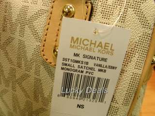 New MICHAEL KORS small MK SIGNATURE Satchel Handbag Bag VANILLA PVC