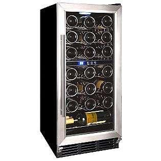 32 Bottle Wine Cooler. Black cabinet with Stainless Steel door