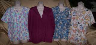 Lot of 4 Nurse Scrub medical tops Bears Cats Cute XS