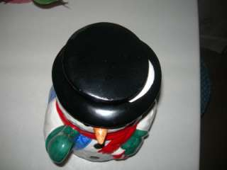Snowman Cookie Jar with Candy Cane by Christmas Village