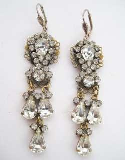 Vintage Schiaparelli Large Ornate Rhinestone Filigree Dangle Earrings