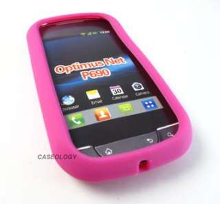 PINK SOFT RUBBER GEL SKIN CASE COVER FOR LG OPTIMUS NET P690 PHONE
