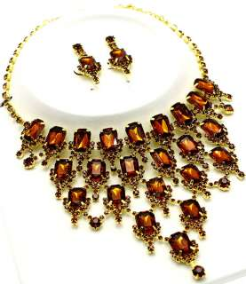 rhinestone FESTOON bib necklace earring set emerald cut acrylic