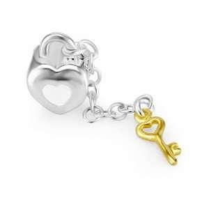 Enamel Heart Lock and Gold Plated Key Bead Charm Fits Pandora Bracelet