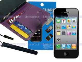 Purple Leather Case Wallet+Screen Protector+Stylus for iPhone 4S 4