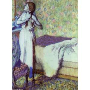 Degas   24 x 32 inches   Young Girl Braiding Her Hair: Home & Kitchen