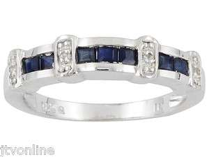 Delicate Blue Sapphire & White Topaz .925 Sterling Silver Band Ring $0