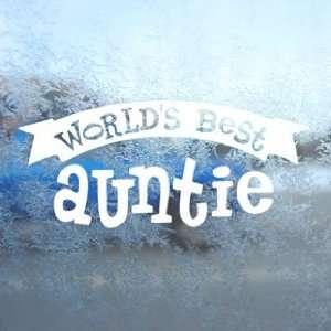 Worlds Best Auntie White Decal Car Window Laptop White