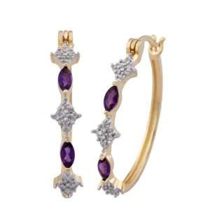 18k Yellow Gold Plated Sterling Silver Amethyst and Diamond Hoop