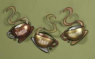 New Set of 3 Metal Coffee Cup Mug Wall Art Latte Mocha Java Kitchen