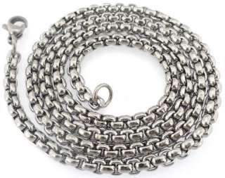STEEL SILVER TONE POLISHED MENS ROLO MARINE NECKLACE CHAIN 3MM