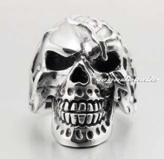 Cool 316L Stainless Steel Skull Mens Biker Ring 4A18