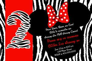 Red Zebra Mickey & Minnie Mouse Birthday Invitations