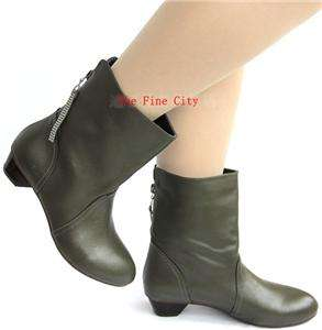 100%genuine calf leather women shoes low heel ankle booties boots