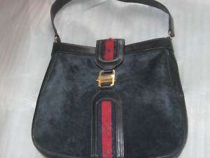 Navy Suede Leather Monogram Purse Handbag, Red Blue Stripe