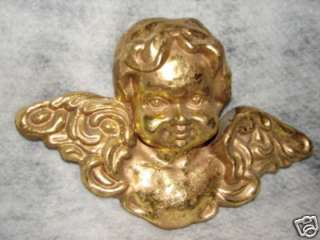 BEAUTIFUL VINTAGE LARGE GOLD ANGEL ~ HANG ON WALL 12 WING SPAN