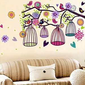 Removable Decal Sticker   Colorful Birds & Birdcages in Tree Branch