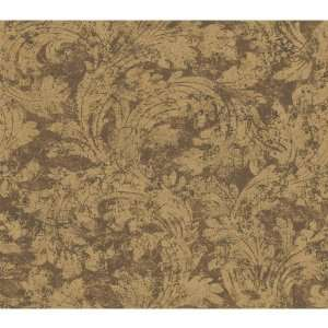 By Color BC1580607 Brown Large Leaf Swirl Wallpaper
