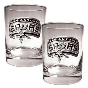 San Antonio Spurs NBA 2pc Rocks Glass Set   Primary Logo