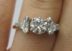 Ladys Three Stone Diamond Ring Platinum 14k Gold