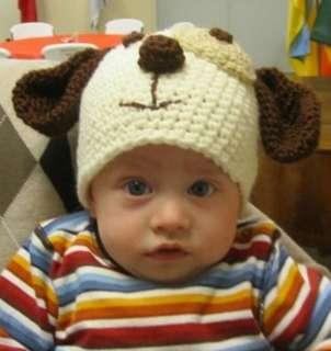PUPPY DOG BABY BOY HANDMADE CROCHETED HAT / TOBOGGAN